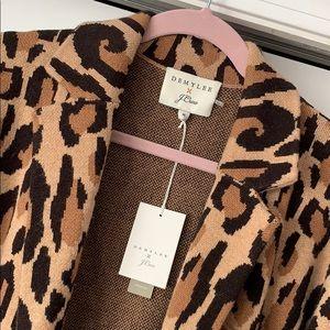 J. Crew x Demylee Leopard Wool Sweater Coat | M